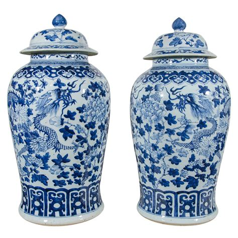 blue and white vases pair of large blue and white porcelain vases with