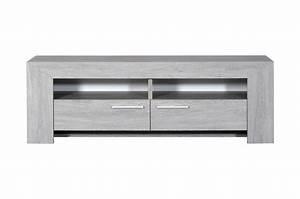 Meuble Chene Clair : meuble tv 2 tiroirs 2 niches ch ne gris clair ou fonc ~ Edinachiropracticcenter.com Idées de Décoration