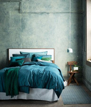 dark turquoise washed cotton duvet cover set love