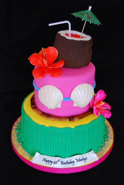 Hawaiian Themed 40th Birthday Cake Cakecentralcom