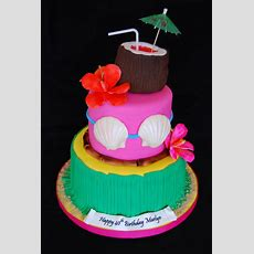 Hawaiian Themed 40th Birthday Cake Cakecentralcom