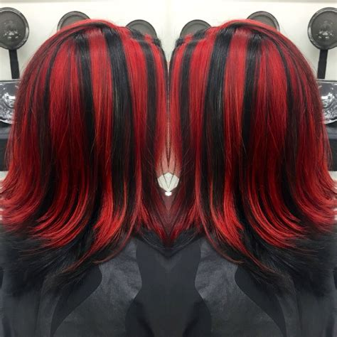 Red And Black Chunky Highlights Hair Inspiration Hair