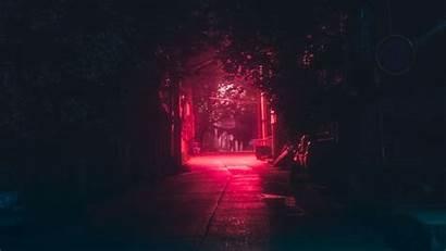 Dark Night Lane Urban Laptop Lighting Background