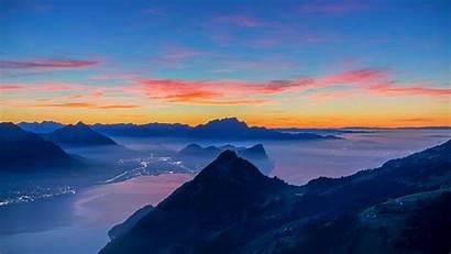 Sunset Mountains Peaks Distance 4k Background Uhd