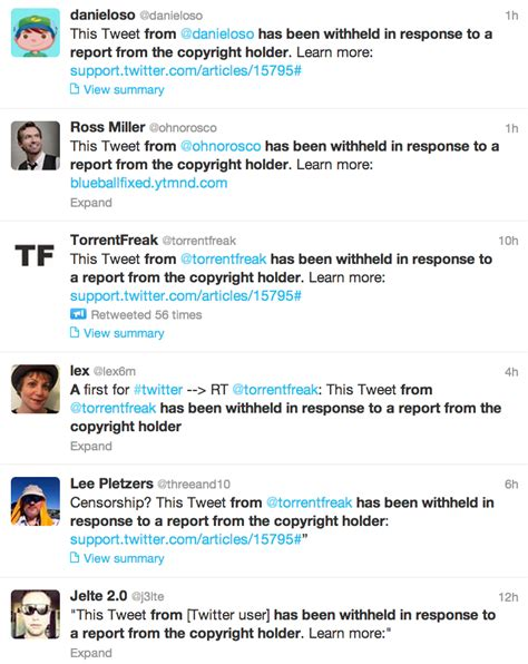 Twitter No Longer 'disappearing' Infringing Tweets