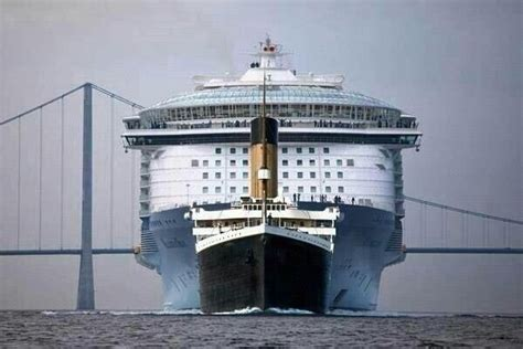 titanic compared to modern cruise ships size comparison of titanic and a modern cruise ship woahdude