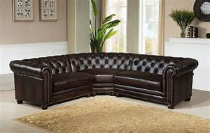 3 piece kennedy genuine dark brown 100 leather sectional With sectional sofas 100 leather