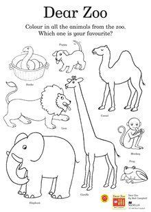 dear zoo colouring activity sheet    find