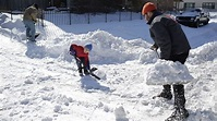 Snow shoveling during or after a blizzard may be the ...