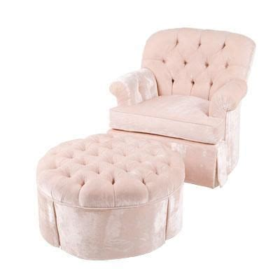 afk s mayfair glider and ottoman shown in empress pink