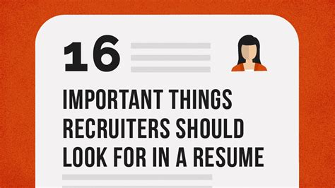 what recruiters should look for in a resume infographic