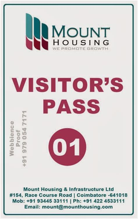 Visitor Pass Template by Id Card Coimbatore Ph 97905 47171 Visitors Pass