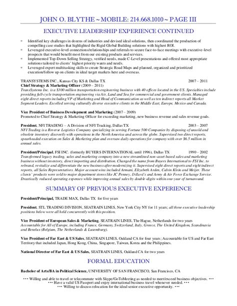 Vp Of Sales Resume by Blythe Vp Sales Resume 2015