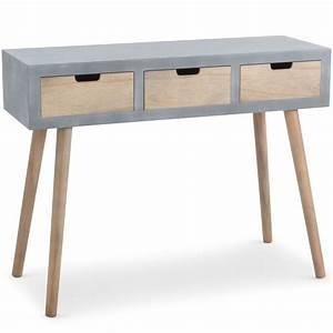 Console Bureau Scandinave : console scandinave 3 tiroirs tatum gris 1531040 ~ Teatrodelosmanantiales.com Idées de Décoration
