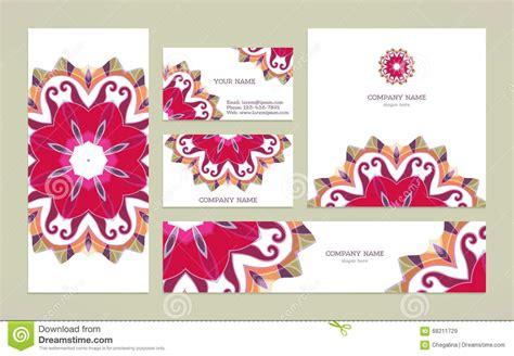 set business card  mandala stock vector image