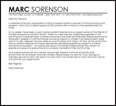 support worker cover letter sle livecareer