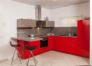 Arbeitsplatte Küche Beton Preis : elementa musterk che moderne rot basaltgrau gl nzende k che und beton grauer arbeitsplatte ~ Sanjose-hotels-ca.com Haus und Dekorationen