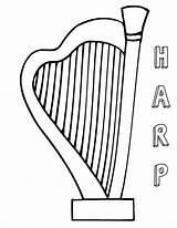 Harp Coloring Pages Print sketch template