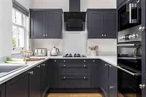 Sophisticated, Hammonds, Kitchen, In, Croft, Using, Distinctive, Charcoal, Units, And, White, Quartz