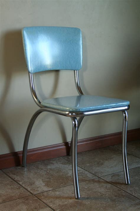 retro light blue vinyl kitchen desk chair mid by