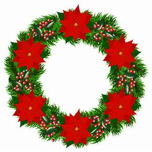 Christmas Wreath with Poinsettia PNG Clipart Image ...