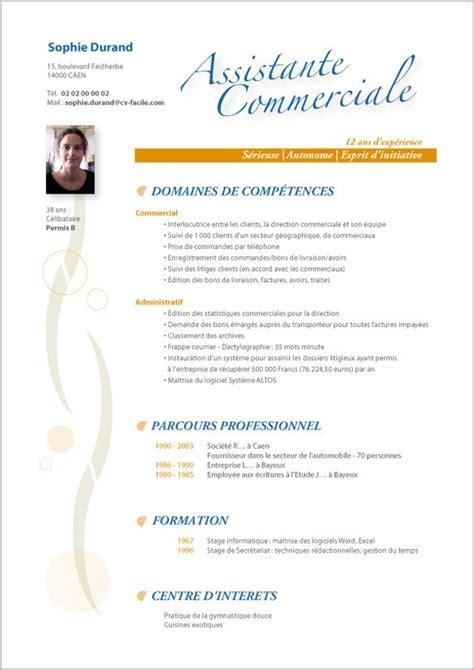 Modele Cv Commercial Word by Modele Cv Commercial Word Exemple Bon Cv Alienbar