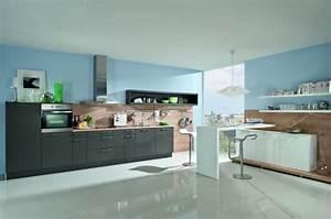 Cuisine couleur bleu gris cuisine vintage blanche for Idee deco cuisine avec facade cuisine gris anthracite