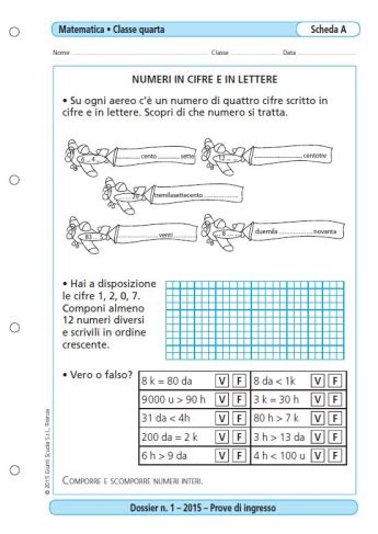 Test Ingresso Scuola Primaria - prove d ingresso matematica classe 4 la vita scolastica