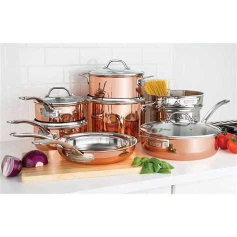 viking  piece tri ply copper cookware set walmartcom walmartcom