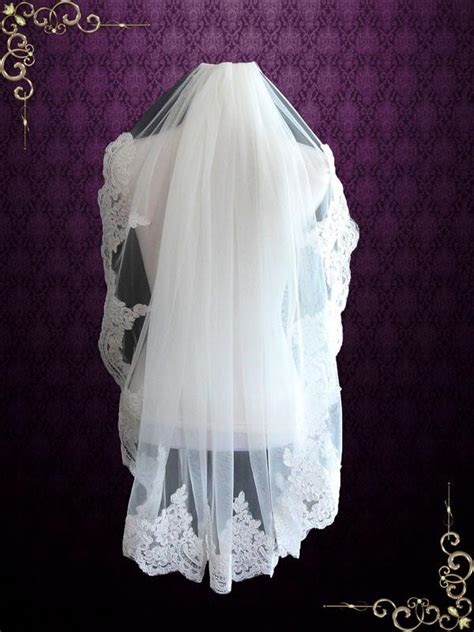 Fingertip Wedding Veil With Alencon Lace Vg1057 Ieie