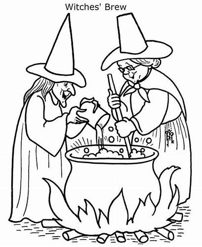 Coloring Witch Cooking Pages Brew Witches Halloween