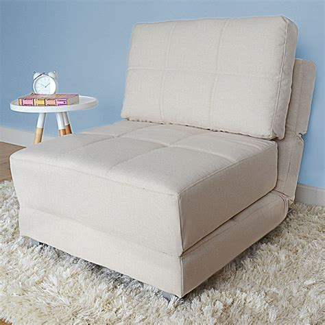 futon single bed chair fold out chair bed beige armless fabric guest
