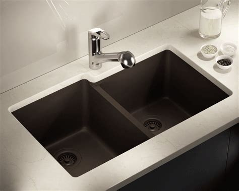 Mocha Double Offset Bowl Trugranite Sink