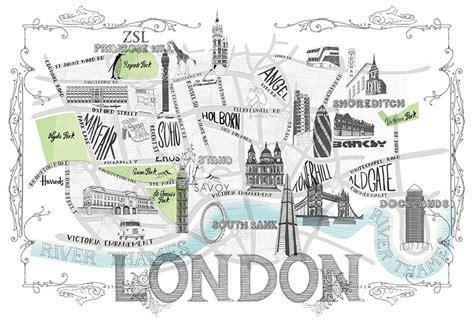 hand drawn london city map custom illustration