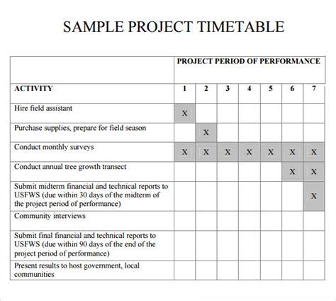sample timetables sample templates