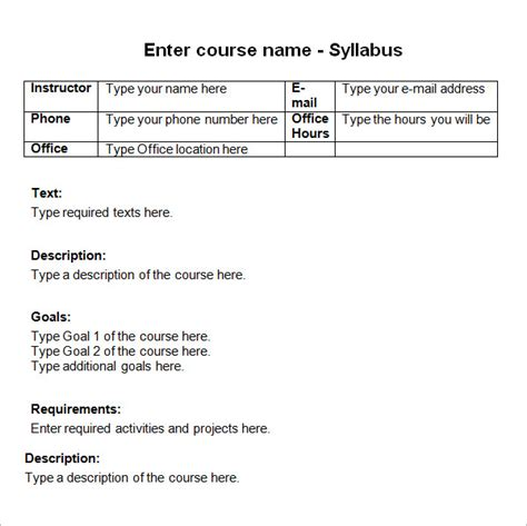 course syllabus template 9 sle syllabus templates sle templates
