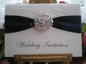 r0018c lace navy blue wedding invitation diamante cluster With navy and white wedding invitations uk
