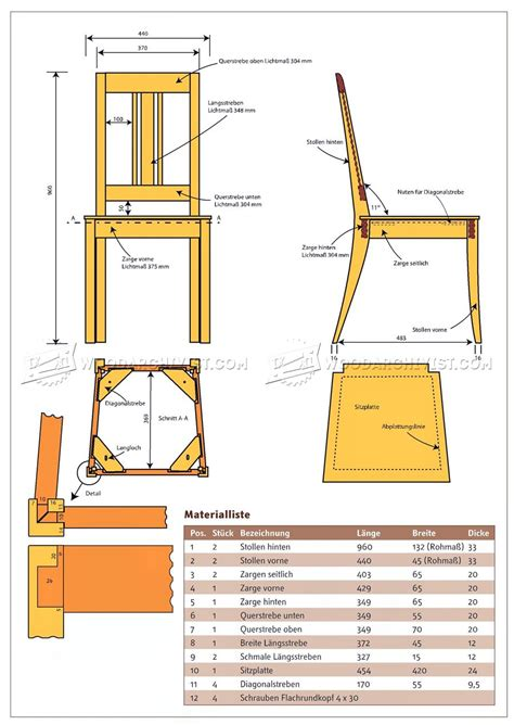 dining chair plans woodarchivist