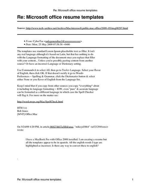 Resume Template Office by Microsoft Office Resume Template Http Www Resumecareer