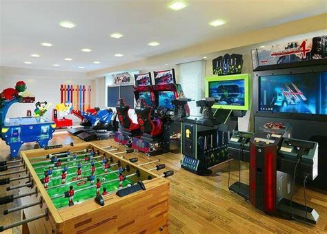 Kids-game-room-video-game-room-for-the-kids-brown-wooden