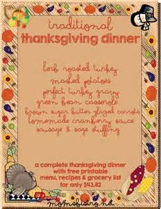 Traditional Thanksgiving Dinner Menu List