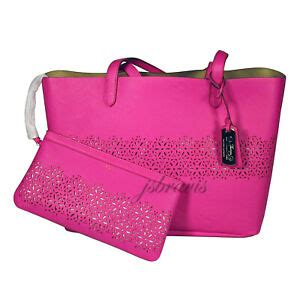 ralph lauren laser cut perforated chantilly ii classic tote bag clutch pink  ebay