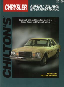 motor repair manual 1976 plymouth volare engine control 1976 1980 dodge aspen plymouth volare chilton s total car care manual