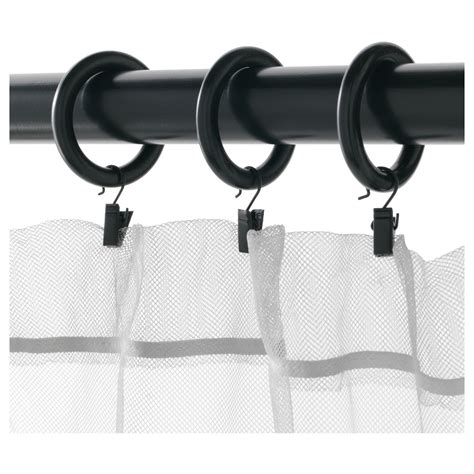 portion curtain ring with clip and hook black stained 47