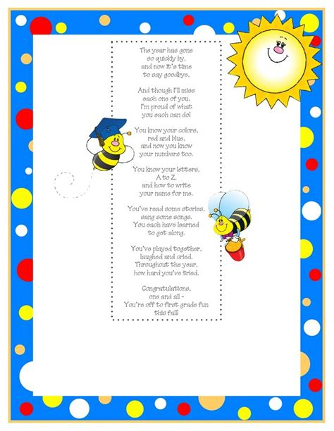 preschool graduation poem kindergarten graduation poem 2 scribd kindergarten 696