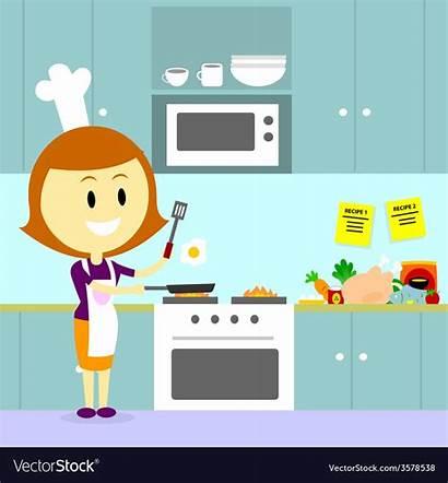 Cooking Kitchen Mom Vector Cartoon Illustration Egg