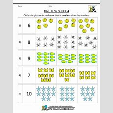 Kindergarten Math Printable Worksheets  One Less