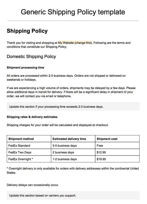 Generic Privacy Policy Template by Sle Shipping Policy Template Termsfeed