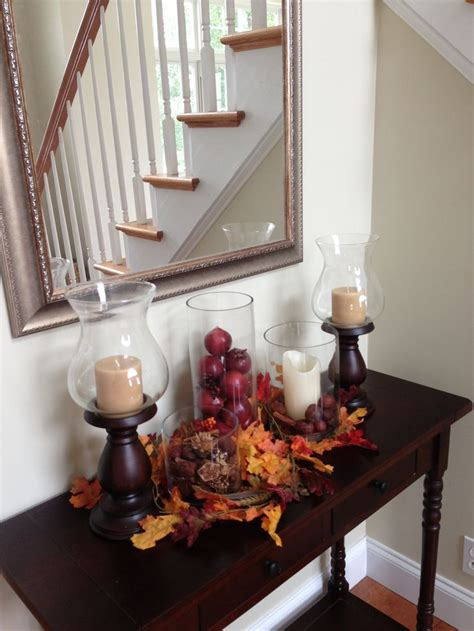 how to decorate a table for fall pretty console table with fall decor decoration ideas