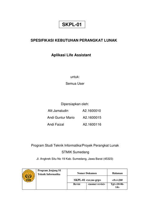 (PDF) SPESIFIKASI KEBUTUHAN PERANGKAT LUNAK Aplikasi Life